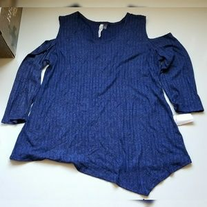 NY Collection blue shimmery cold shoulders